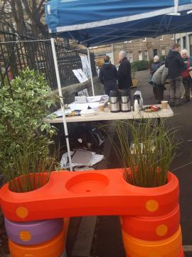 Awning and tables at Roseburn consultation event on Old Coltbridge