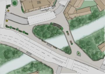 Plan sketch of Coltrbridge design option 1