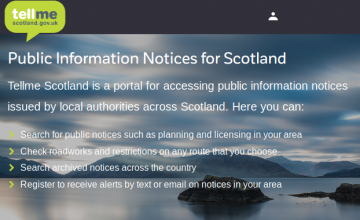 Screenshot of TellMeScotland website banner. (c) The Improvement Service