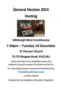 Photograph of flyer for General Election Hustings 2019