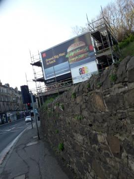 Hoarding being removed Roseburn Terrace (c) John Yellowlees