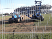 Pitch drainage works in Roseburn Park, March 2021, (c) J Yellowlees