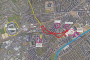 Plan view Roseburn to Fountainbridge foot/cycle way improvements. (c) City of Edinburgh Council / HarrisonStevens